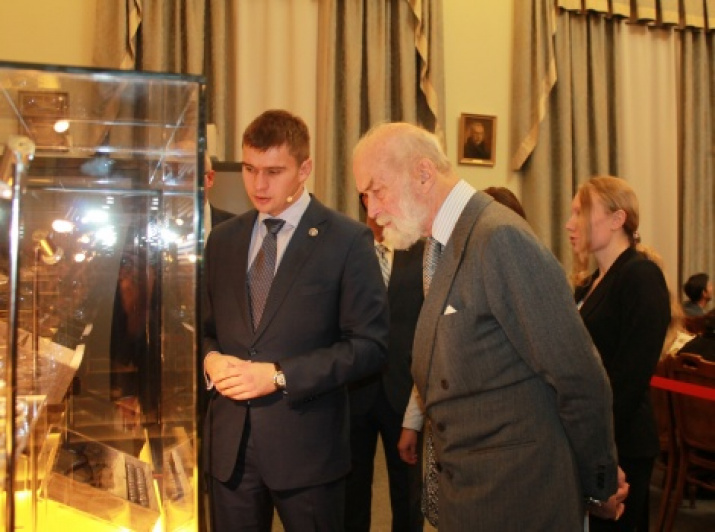 Prince Michael of Kent at the exhibition «Smuggling, Three Centuries Under Water» at the Headquarters of the Russian Geographical Society in St. Petersburg. Photo by Tatyana Nikolaeva