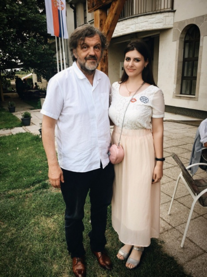 A youth club representative with film director Emir Kusturica. Photo was provided by the internship participants