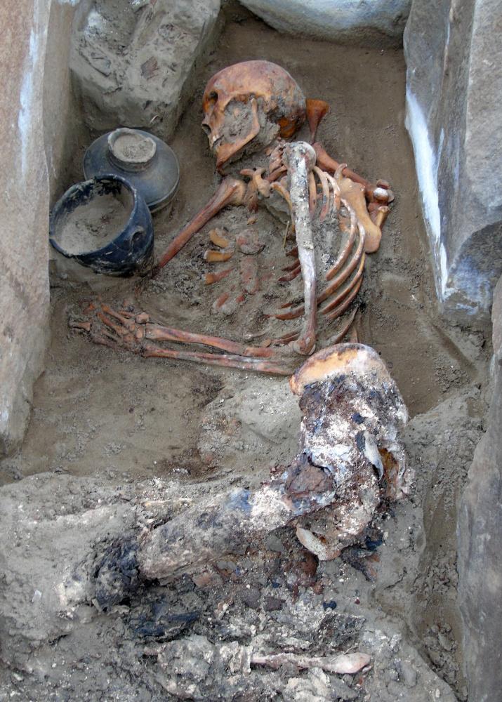 Частично мумифицированное погребение на могильнике Терезин. Фото предоставлено участниками экспедиции