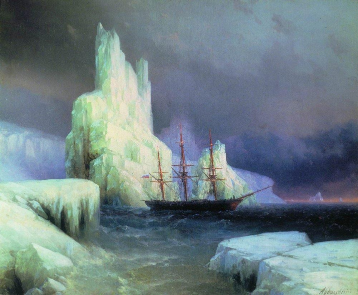 Painter I.Aivazovsky. Ice mountains in Antarctic