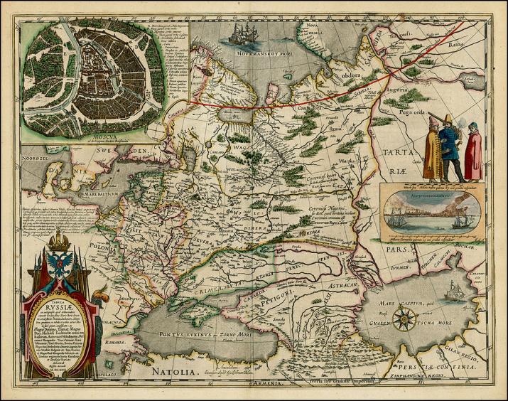 Карта Фёдора Годунова, изданная Герритсом в Амстердаме. Источник: сайт Российской Государственной Библиотеки.