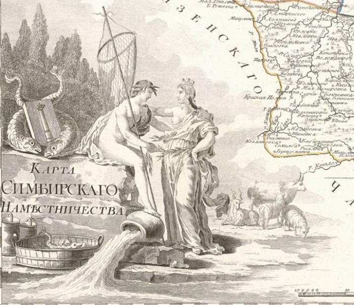 Фрагмент карты Симбирского наместничества, 1792 г. Фото с Геопортала РГО