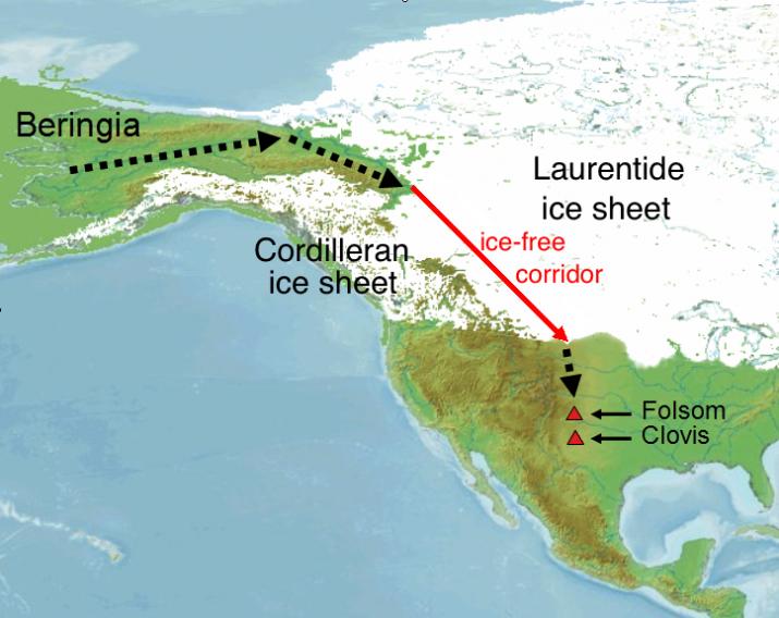 Наиболее вероятный маршрут переселения в Америку предков индейцев. Изображение: Roblespepe, с сайта wikipedia.org