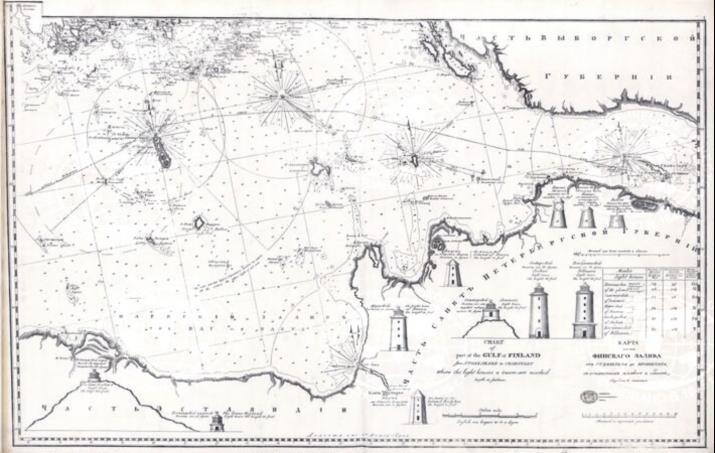 Карта части Финского залива от Стеншхера до Кронштадта. Л.В. Спафарьев. 1823 г. Изображение с Геопортала РГО