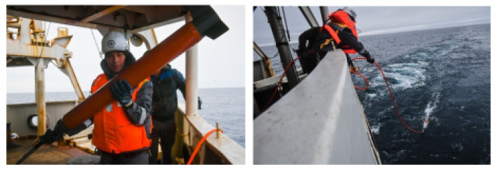 "Fig. 11. Work on the SMP determination by a specialist of the JSC ""Yuzhmorgeologiya"" M.G. Kuzyakin, carried out with a proton marine magnetometer in the D'Urville Sea."