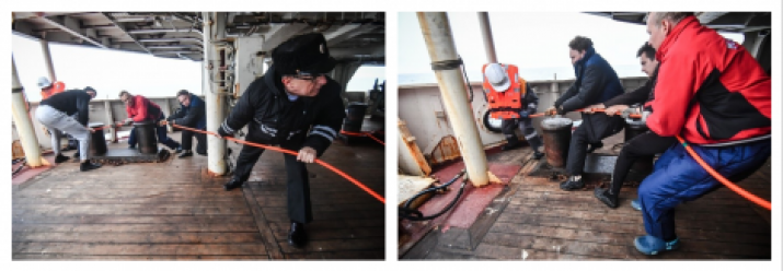 "Fig.16. Hoisting the fish of the marine proton magnetometer by the oceanographic research vessel ""Admiral Vladimirsky"" crew, including the head of the expedition, Captain 1st Rank Osipov O.D."