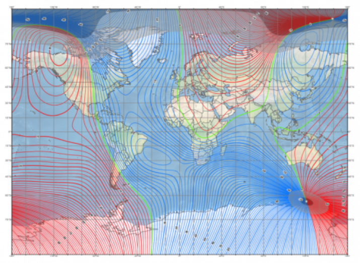 Fig. 6. The magnetic declination map of the model of the EMF WMM 2020. (Https://www.ngdc.noaa.gov/geomag/WMM/)