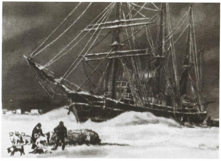 "Шхуна ""Заря"" во льдах. Рисунок участника экспедиции. Источник фото: wikipedia.org"