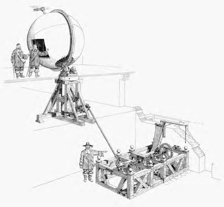 Механизм вращения глобуса (реставрация Ф. Люнинга). Готторпский замок. XVI в. Иллюстрация из книги Э. П. Карпеева «Большой Готторпский глобус»