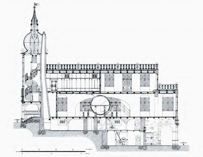Разрез Глобусного дома в Нойверке (реставрация Ф. Люнинга). Иллюстрация из книги Э. П. Карпеева «Большой Готторпский глобус»
