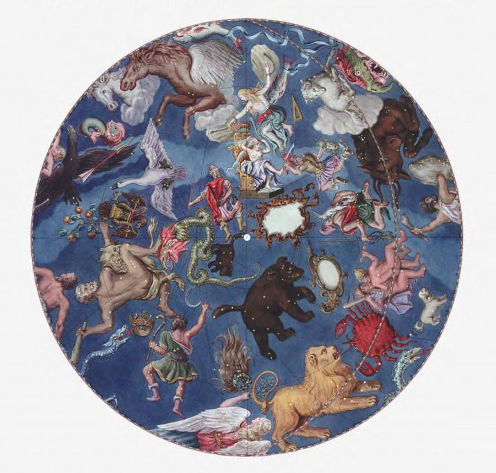 Звёздное небо глобуса. Северное полушарие. Иллюстрация из книги Э. П. Карпеева «Большой Готторпский глобус»