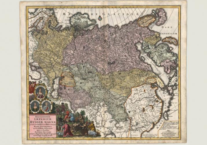 Маттеус Зойтер. Географическая карта Российской Империи. Около 1738 года