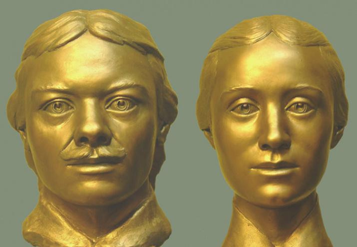 Супруги Прончищевы. Скульптурная реконструкция С. А. Никитина / Википедия