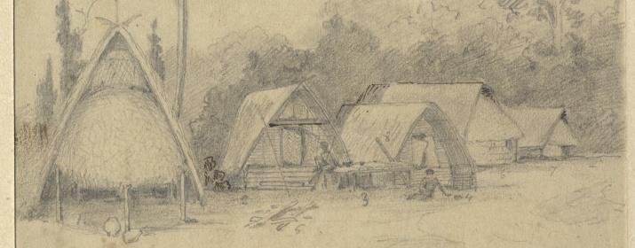 Деревня Горенду на Берегу Маклая. Рисунок Н.Н.Миклухо-Маклая. 1870 год