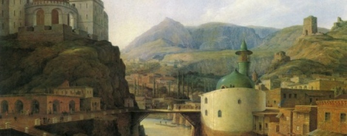 Metekhi Castle and Shiite Mosque in the painting by N.G.Chernetsov. Tiflis