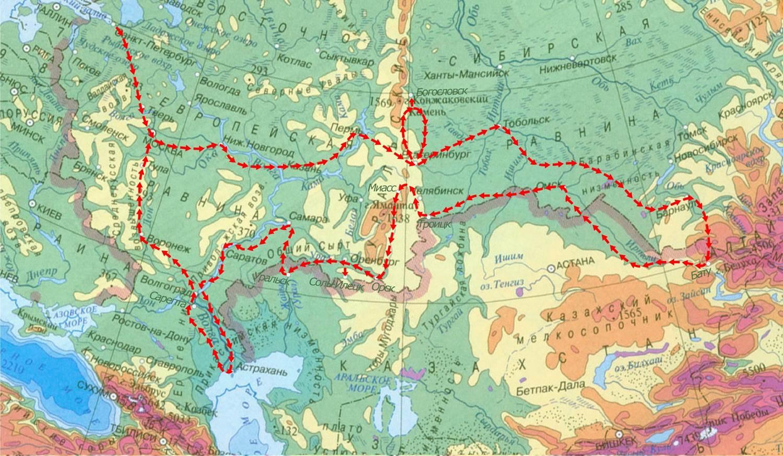 Маршрут экспедиции 1829 года Александра фон Гумбольдта