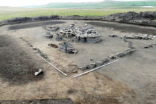 Excavations of the burial of Okunev Culture, Khakassia. The photo is provided by the organizers of the expedition of the Russian Geographical Society