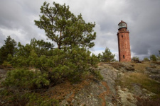 The Lighthouse of the Big Tyuters Island. The photo is provided with the members of the expedition