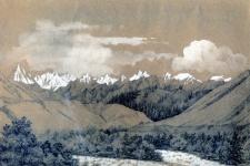 Рисунок П. Кошарова из альбома к путешествию на Тянь-Шань, 1857 год (из архива РГО)