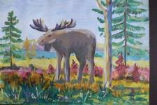 ''Лось – хозяин леса''. Рисунок Евгении Кузнецовой
