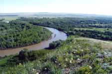 Вид поймы реки Урал с г. Верблюжка (Беляевский район)