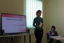 Наталья Плотникова представляет направления работы областного туристско-информационного центра.