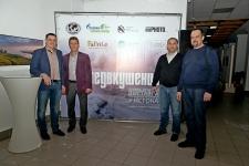 На открытии выставки. Слева направо - Олег Буцкий, Михаил Малахов, Александр Капитанов, Виктор Шляхин