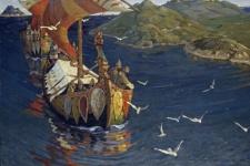 На таких ладьях викинги спускались по рекам, впадающим в Северную Двину, до рек Волжского бассейна