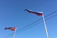 Российский и норвежский флаги в Вардё, 22.10.2017, Норвегия, фото: Инесса Фоменко