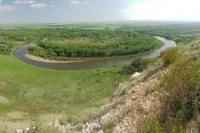 Река Урал у горы Дюяташ. Оренбурсгское Предуралье.  Фото: Александра Чибилёва