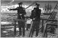 Engraving by L. Bykov. F. Bellingshausen and M. Lazarev off the coast of Antarctica