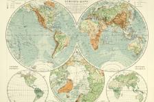 Карта устройства поверхности и растительный покров земного шара