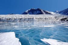 Голубой лёд, покрывающий озеро Фрикселл в Трансантарктических горах. Фото: ikipedia.org