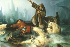 Битва с белым медведем. Художник Франсуас-Огюст Биар