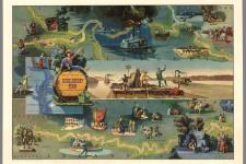 Литературная карта «Приключения Гекльберри Финна». Эдуард Хенри. 1959