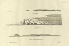 Вид островов Маквари, Петра I и Александра I. Акварель Павла Михайлова. 1821 г.