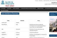 скрин страницы почетных членов сайта Французского географического общества