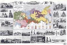 Этнографическая карта Сибири и Туркестана с иллюстрациями