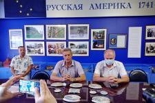 Участники пресс-конференции (слева направо): Александр Капитанов, Михаил Малахов, Владимир Горнов