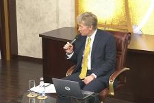 Пресс-конференция Дмитрия Пескова, посвящённая конкурсу медиагрантов РГО 2020 года (25.11.2019)