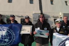 Поздравление со 175-летием РГО от участников комплексной экспедиции РГО и Северного флота РФ на арктические архипелаги