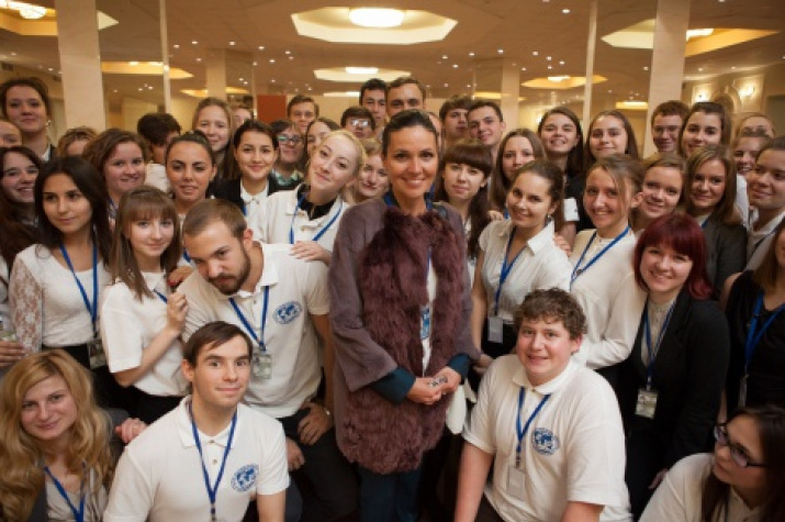 Volunteers and Anastasia Chernobrovina at XV Сongress of the Russian Geographical Society