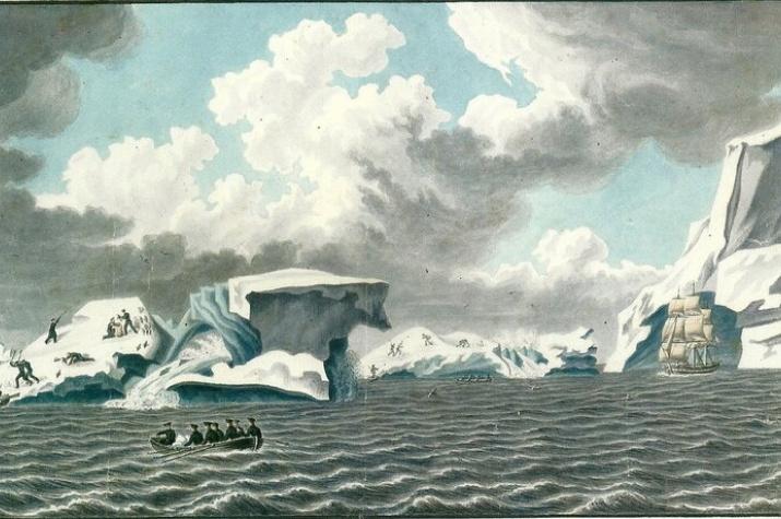 Вид ледяных островов,1820 г. Художник: Павел Михайлов