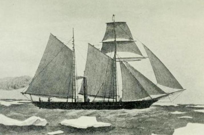 """Литография английской паровой шхуны """"Thames"""" (""""Темза""""), пришедшей на Енисей в 1876 г. Фото предоставлено сотрудниками Сибирской аэрокосмической академии."""