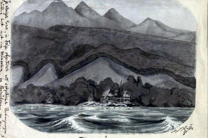 Дом Н.Н.Миклухо-Маклая на мысе Бугарлом, Новая Гвинея. Рисунок Н.Н. Миклухо-Маклая