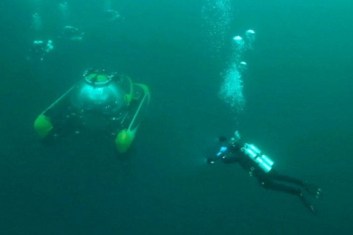 Manned submersible.  Photo is provided by the Undersea Research Center of the Russian Geographical Society