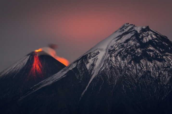 Eruption of Klyuchevskaya Sopka. Photo by: Vladimir Voychuk, a finalist of the III Photo Contest