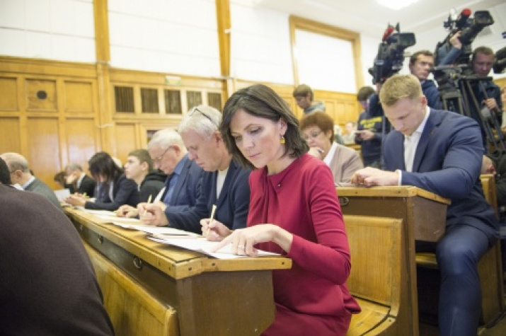 Vyacheslav Fetisov and Anastasia Chernobrovina in the main building of Moscow State University. Photo by: the press center of the Society