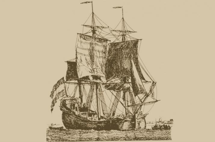 Торговое трехмачтовое судно конца XVII - начала XVIII века. Гравюра.