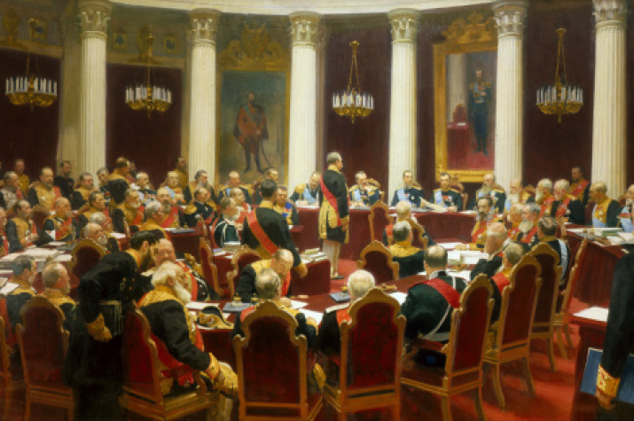"""Ceremonial Sitting of the State Council on 7 May 1901 Marking the Centenary of its Foundation"" by Ilya Repin"
